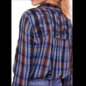 Free People Tops - Free People Magical Embroidered Plaid Shirt